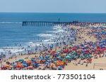 crowded beach in ocean city  md    Shutterstock . vector #773501104