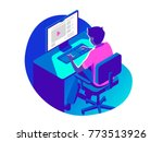 a man working on the computer... | Shutterstock .eps vector #773513926