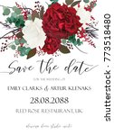 Stock vector wedding save the date invite invitation card vector floral bouquet design with garden red 773518480