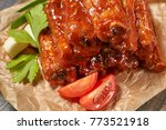 grilled pork ribs with sauce...   Shutterstock . vector #773521918