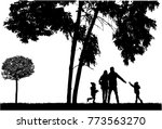 silhouette family on a walk. | Shutterstock .eps vector #773563270