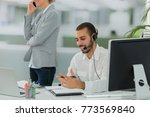 team working in middle east... | Shutterstock . vector #773569840