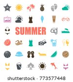 summer icons set | Shutterstock .eps vector #773577448