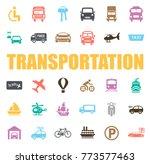 transportation icons set   Shutterstock .eps vector #773577463