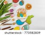 tulips and gingerbread cookies... | Shutterstock . vector #773582839