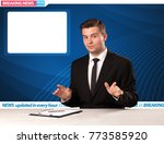 television reporter telling... | Shutterstock . vector #773585920