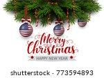 vector border of christmas tree ... | Shutterstock .eps vector #773594893