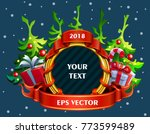 christmas golden wreath with... | Shutterstock .eps vector #773599489