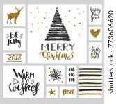 christmas set with black and... | Shutterstock .eps vector #773606620