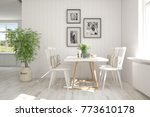 white modern dinner room.... | Shutterstock . vector #773610178