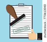 approved paper document  green... | Shutterstock .eps vector #773613040