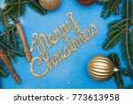 a gold gleaming merry christmas ...   Shutterstock . vector #773613958