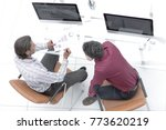 colleagues discussing financial ... | Shutterstock . vector #773620219