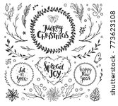 rustic christmas set with... | Shutterstock .eps vector #773623108