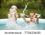 girls in swimming pool  | Shutterstock . vector #773623630