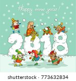 cute winter new year card with... | Shutterstock .eps vector #773632834