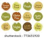 bio organic labels  round logo... | Shutterstock .eps vector #773651920