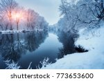winter forest on the river at... | Shutterstock . vector #773653600