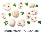 mushrooms with parsley isolated ... | Shutterstock . vector #773654308