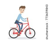 man on a bicycle on his way to... | Shutterstock .eps vector #773659843