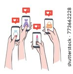 social media marketing reaching ... | Shutterstock .eps vector #773662228