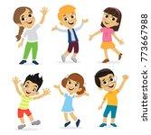 happy school multiracial... | Shutterstock .eps vector #773667988