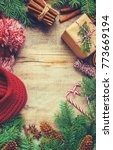 christmas background. selective ... | Shutterstock . vector #773669194
