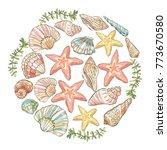 vector hand drawn round... | Shutterstock .eps vector #773670580