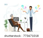 business meeting. boss and... | Shutterstock .eps vector #773671018