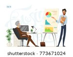 business meeting. boss and... | Shutterstock .eps vector #773671024