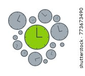 right time on green clock.... | Shutterstock .eps vector #773673490