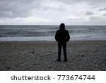 man looks at stormy sea | Shutterstock . vector #773674744