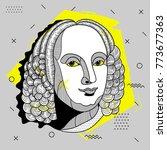 creative modern portrait of... | Shutterstock .eps vector #773677363