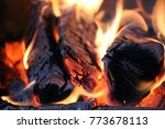fire flames and coals on black... | Shutterstock . vector #773678113