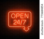 neon open 24 hours 7 days a... | Shutterstock .eps vector #773684854