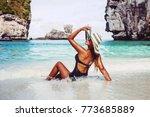 summer lifestyle portrait of... | Shutterstock . vector #773685889