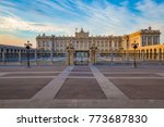 royal palace in madrid in a... | Shutterstock . vector #773687830