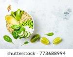 vegan  detox green buddha bowl... | Shutterstock . vector #773688994