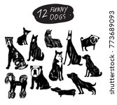 vector funny dog icon set ... | Shutterstock .eps vector #773689093