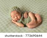 cute sleeping newborn baby    Shutterstock . vector #773690644
