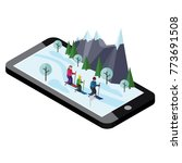 isometric happy family skiing.... | Shutterstock .eps vector #773691508
