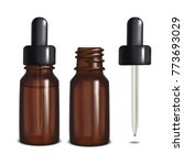 glass bottles with pipette.... | Shutterstock .eps vector #773693029