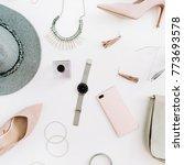 women modern fashion clothes... | Shutterstock . vector #773693578