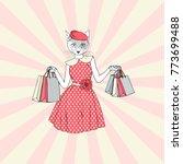 cat woman shopping ...   Shutterstock .eps vector #773699488