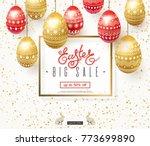 easter sale banner. elegant... | Shutterstock .eps vector #773699890