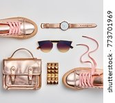 fashion. woman gold accessories ... | Shutterstock . vector #773701969