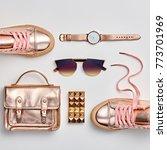 fashion. woman gold accessories ...   Shutterstock . vector #773701969