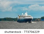 Small Blue Passenger Ship...
