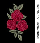embroidered red flowers. roses. | Shutterstock .eps vector #773709628