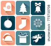 new year and christmas icons.... | Shutterstock .eps vector #773710708